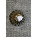 Knap rund m/riller, sølv 11 mm.