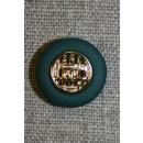 Knap flaskegrøn m/guld, 18 mm.