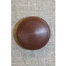 Brun knap m/mønster-kant, 25 mm.