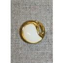 Knap guld/knækket hvid, 15 mm.