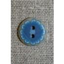 Knap m/blå blomst