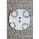 Hvid knap m/grå cirkler, 26 mm.