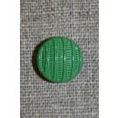 Rund knap m/striber, grøn 13 mm.