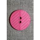 Pink 2-huls knap m/riller, 23 mm.