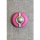 Knap m/sølv midte, pink