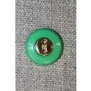 Græsgrøn knap m/guld midte 15 mm.