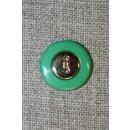 Brilliant-grøn knap m/guld midte 18 mm.