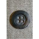 4-huls knap brun/sort, 15 mm.