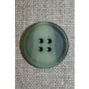 4-huls knap meleret støvet grøn/grå-grøn, 22 mm.