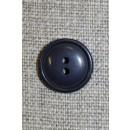 Mørk blå 2-huls knap, 15 mm.