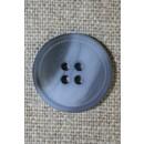 4-huls knap meleret lyseblå/grå, 20 mm.