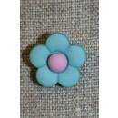 2-farvet blomsterknap aqua/lyselilla