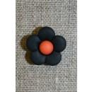 2-farvet blomsterknap sort/orange