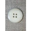 4-huls knap i off-white perlomors-look m/sort kant, 22 mm.