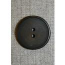 Mørkebrun 2-huls knap 28 mm.