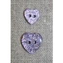 Knap m/glimmer, hjerte i lyselilla 11 mm.