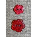 Knap m/glimmer, blomst i rød, 11 mm.
