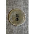 Beige meleret knap m/metal huller, 28 mm.