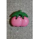 Knap m/kirsebær, lyserød/grøn