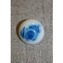 Knap i porcelæns-look, knækket hvid m/blå blomst