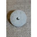 Grå/kit knap m/sølv-midte, 15 mm.
