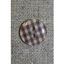 Ternet 2-huls knap brun/hvid, 14 mm.