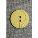 Lys gul knap m/mønster, 20 mm.
