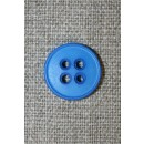Klar blå 4-huls knap, 15 mm.