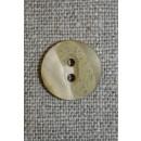 2-huls knap meleret beige/lys oliven, 15 mm.