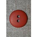 Brændt orange 2-huls knap, 18 mm.
