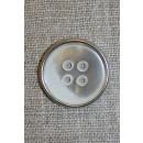 4-huls knap hvid/sølv, 23 mm.