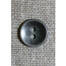 2-huls knap sort/sølv, 11 mm.