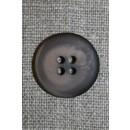 Mørkebrun/støvet brun meleret 4-huls knap, 20 mm.