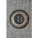 4-huls knap mørkebrun/gylden, 18 mm.