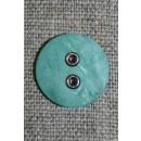 Aqua-Irgrøn knap m/sølv-huller, 18 mm.