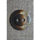 Blank meleret 2-huls knap brun/beige