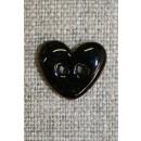 Kokos-knap m/emalje, hjerte sort 15 mm.