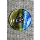 4-huls knap i glas-look, blå/gul/sort 23 mm.