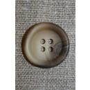 4-huls knap meleret off-white/beige/brun, 20 mm.
