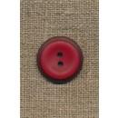 Rød 2-huls knap m/mørk rød kant, 20 mm.