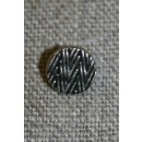 Lille metalknap sølv/sort m/zigzag-mønster 9 mm.