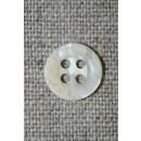 4-huls krakeleret knap off-white, 11 mm.
