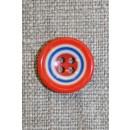 Flerfarvet knap m/cirkler, orange/blå/hvid 15 mm.