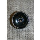 Sort knap m/simili-sten & sølv-kant 15 mm.