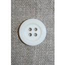 Knækket hvid knap m/stikning, 18 mm.