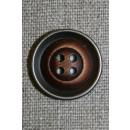 4-huls knap i plast med træ og gl.sølv-look mørk 22 mm.