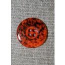 Knap m/pletter orange/sort 18 mm.
