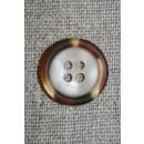 4-huls knap off-white m/brun/gylden kant, 18 mm.