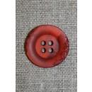 4-huls knap krakeleret rød-orange, 20 mm.