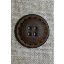 4-huls knap i læder-look brun, 25 mm.